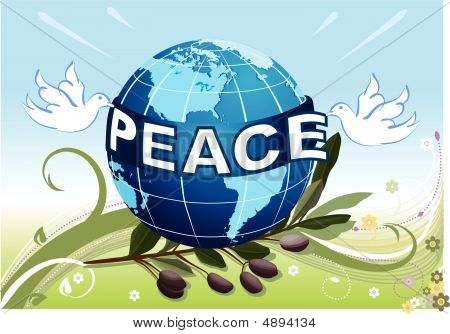 Peace To The Earth With White Doves And Olive Tree Branch