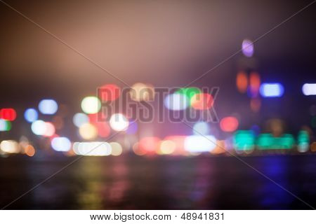 blured lights of Hong Kong Skyline