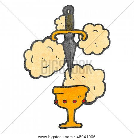 cartoon dagger and cup symbol