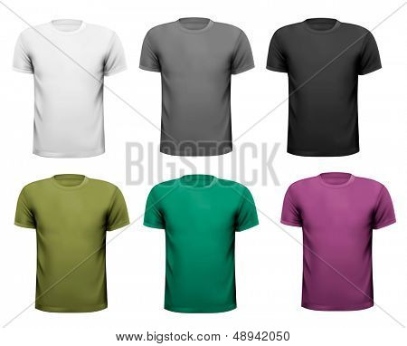 Black and white and color men polo shirts. Design template. Vector illustration
