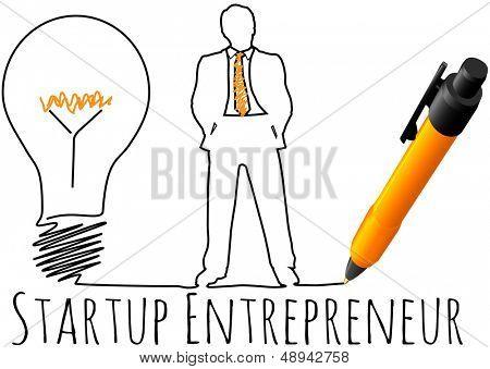 Dibujo de empresario startup idea bombilla del plan de negocio