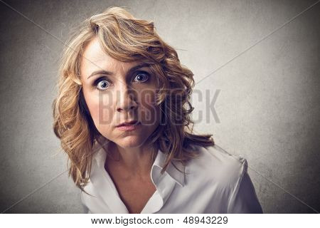 portrait of frightened woman