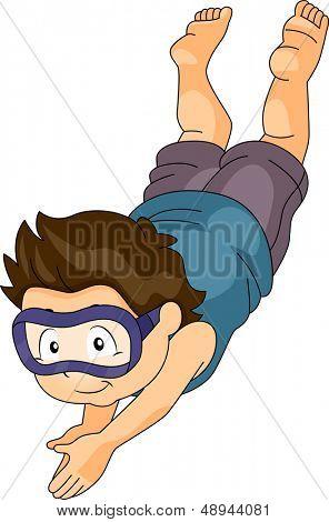 Ilustración de un niño chico con gafas de bucear bajo el agua