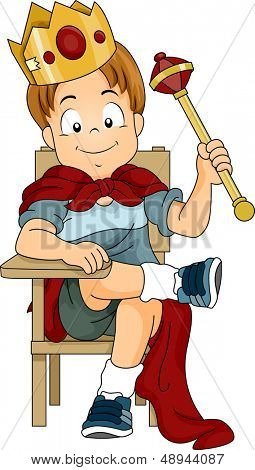 Illustration of a Kid Boy Dressed as Prince Sitting on a Student Chair