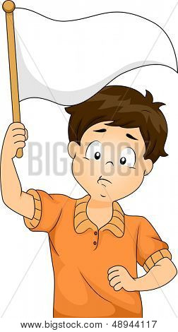 Illustration of Kid Boy Waving a Blank White Flag