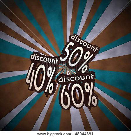3D Graphic Of A Old Discount Label  On Retro Background