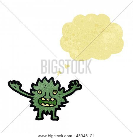 retro cartoon little imp with thought bubble