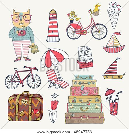 Travel concept set in vector. Cartoon hipster cat with bicycle, dog, ice-cream, sail boat, cases, chocolate, tulip and cocktails. Cartoon funny set