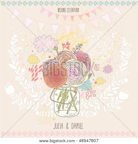 Stylish save the date card in vector. Beautiful ranunculus bouquet in a jar on floral background. Ideal for wedding designs