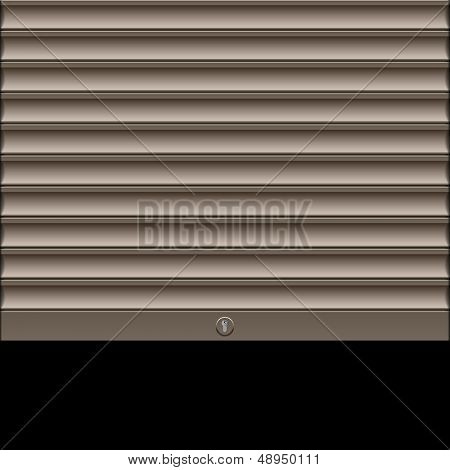 Roller shutter with lock. Vector.
