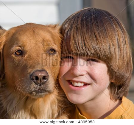 Portrait Of Boy And Dog