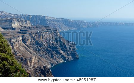 Coast of the island of Santorini