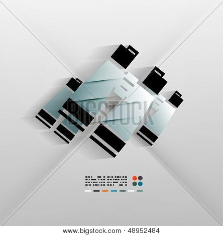Binoculars icon vector paper 3d design