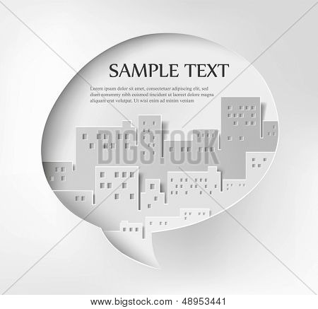 Vector illustration of abstract bubble speech with paper buildings