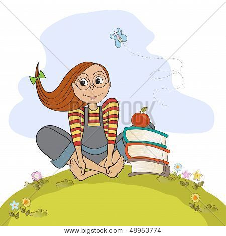 Studious Girl Sitting Barefoot In The Grass