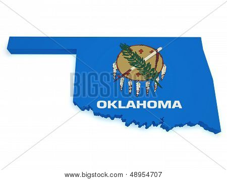 Oklahoma Map Flag 3D Shape