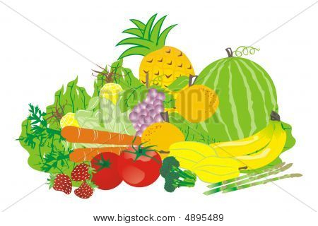 Tropical Fruits And Vegetables Vector