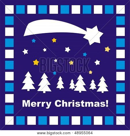 Vector Christmas card with trees, stars & Merry Christmas wishes
