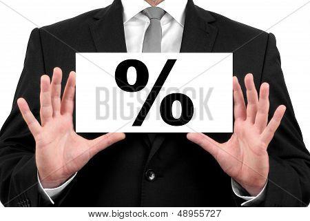 Percent, percentage, interest. Businessman shows business card