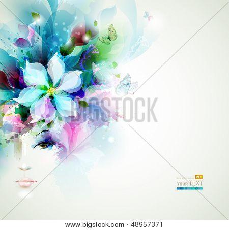 Cara de mulheres lindas da moda com elementos naturais, flores e borboletas