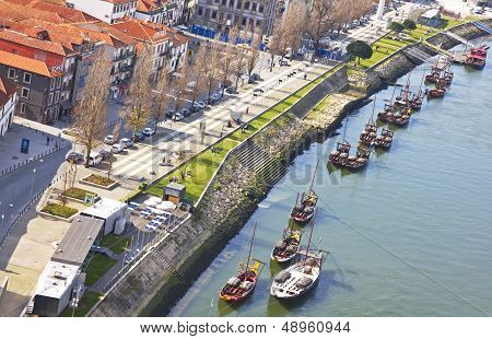 Portugal. Vila Nova De Gaia Opposite Porto City. View Of Douro River Embankment