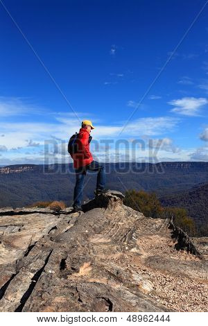 Hiker Admiring Mountain Views