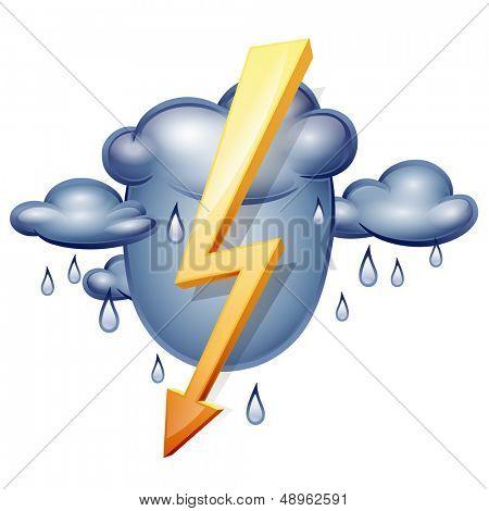 Tiempo en icono. Nubes de tormenta y relámpagos. Tormentas de ilustración vectorial aisladas en una espalda blanca