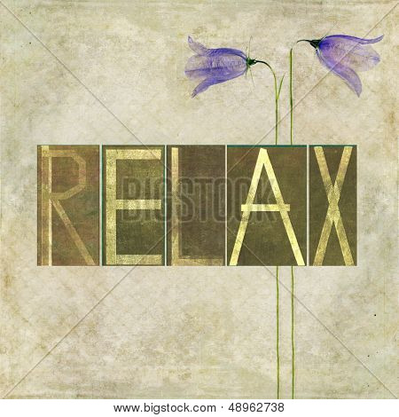 """Earthy background image and design element depicting the word """"Relax"""""""
