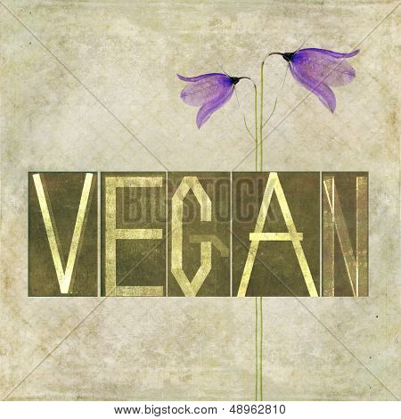"Textured earthy background image and design element depicting the word ""Vegan"""