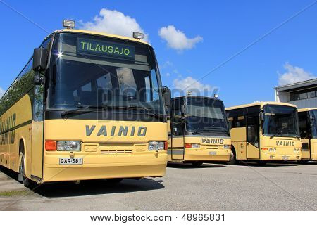 Row Of Yellow Coach Buses