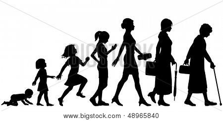 Editable vector silhouettes of different stages of a woman's life