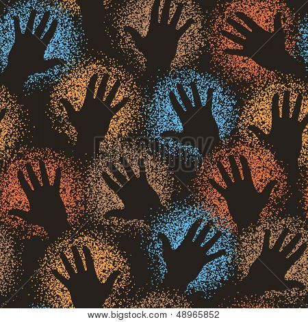Editable vector seamless tile of cave art paint-sprayed hands