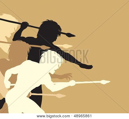 Editable vector silhouettes of cavemen holding spears threateningly