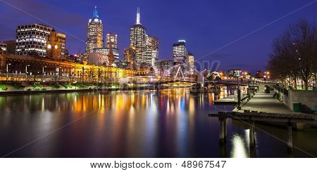 Melbourne Skyline At Dusk