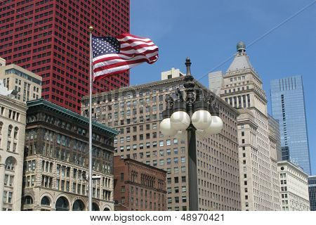 Chicago office buildings and US flag