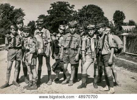 PLOCICZNO, POLAND, CIRCA 1957 - vintage photo of group of scouts during a summer camp, Plociczno, Poland, circa 1957