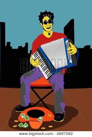 A Man With Accordion