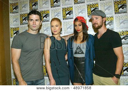 "SAN DIEGO, CA - JULY 20: The cast of ""Being Human"" arrives at the 2013 Comic Con press room at the Hilton San Diego Bayfront hotel on July 20, 2013 in San Diego, CA."