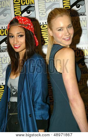 SAN DIEGO, CA - JULY 20: Meaghan Rath and Kristen Hager arrive at the 2013 Comic Con press room at the Hilton San Diego Bayfront hotel on July 20, 2013 in San Diego, CA.