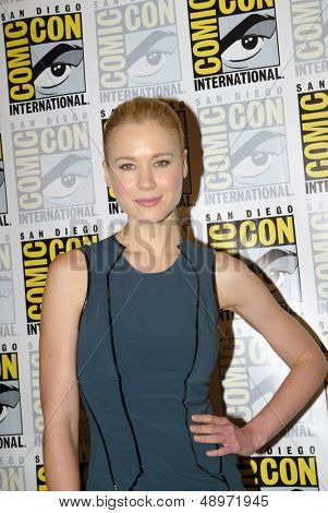 SAN DIEGO, CA - JULY 20: Kristen Hager arrives at the 2013 Comic Con press room at the Hilton San Diego Bayfront hotel on July 20, 2013 in San Diego, CA.