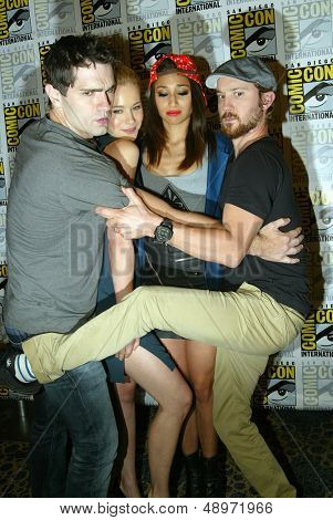 """SAN DIEGO, CA - JULY 20: The cast of """"Being Human"""" arrives at the 2013 Comic Con press room at the Hilton San Diego Bayfront hotel on July 20, 2013 in San Diego, CA."""