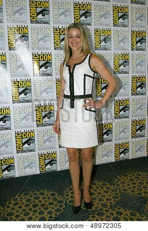 SAN DIEGO, CA - JULY 20: Zoie Palmer arrives at the 2013 Comic Con press room at the Hilton San Diego Bayfront hotel on July 20, 2013 in San Diego, CA.