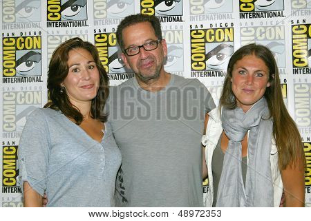 SAN DIEGO, CA - JULY 20: Producers Emily Andras, Jay Firestone and Vanessa Piazza arrive at the 2013 Comic Con press room at the Hilton San Diego Bayfront hotel on July 20, 2013 in San Diego, CA.