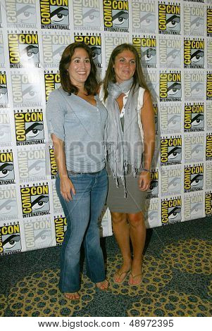 "SAN DIEGO, CA - JULY 20: ""Lost Girl"" producers Emily Andras and Vanessa Piazza arrive at the 2013 Comic Con press room at the Hilton San Diego Bayfront hotel on July 20, 2013 in San Diego, CA."