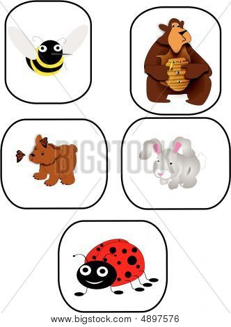 Bee, Bears, Rabbit And Ladybug Cartoon Character Illustrations