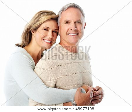 Happy senior Couple verliebt. Isolated on White.