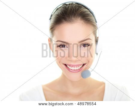 Customer service representative headset woman talking giving online help desk support looking at camera friendly happy and smiling isolated on white background. Asian./ Caucasian female girl, 20s.