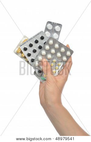 Hands Holding Packs Of Medicine Aspirin Painkiller Tablet Pills