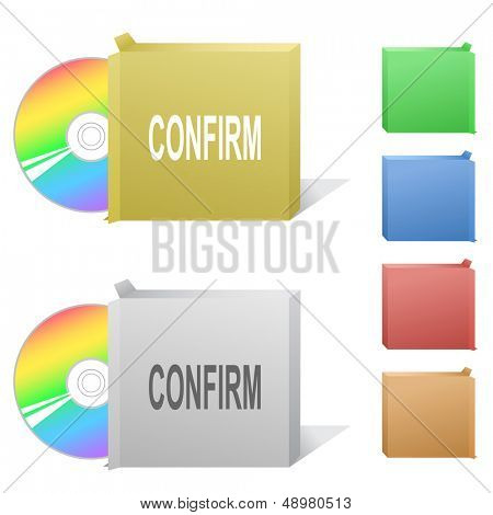 Confirm. Box with compact disc. Raster illustration. Vector version is in my portfolio.