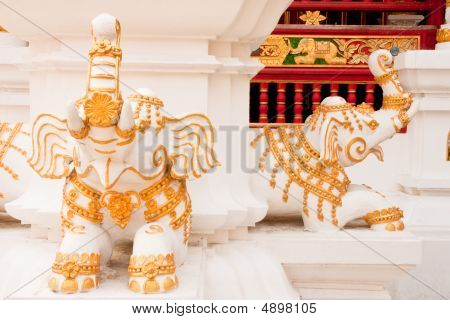 Elephants In Traditonal Thai Style Molding Art